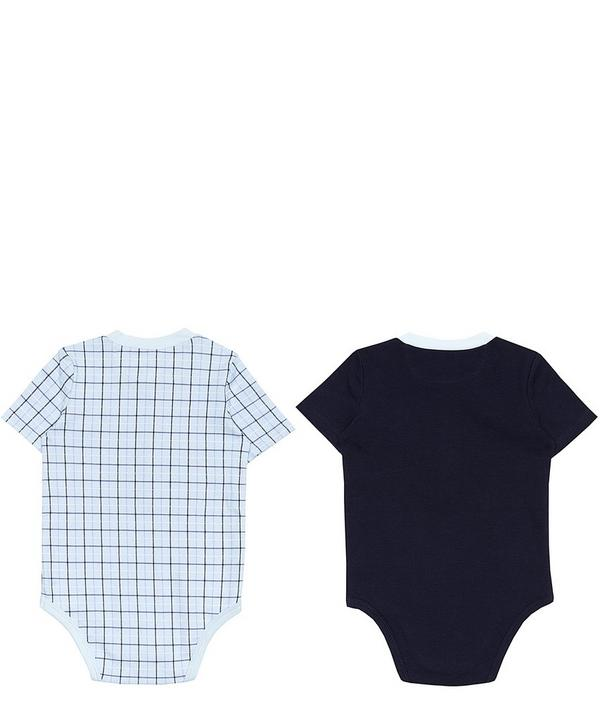 Set of Two Checked and Plain Bodysuits