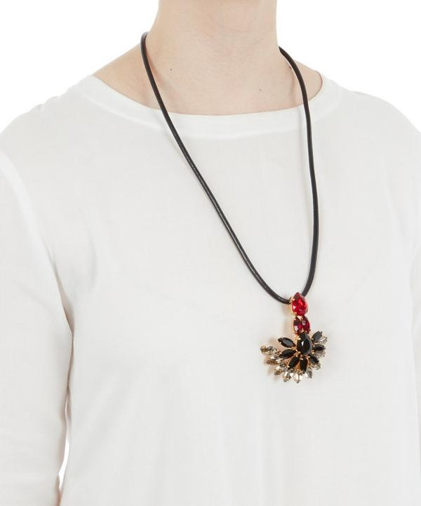 Strass Crystal Necklace with Leather Tie