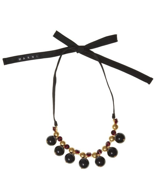 Strass Ball Short Tie Ribbon Necklace