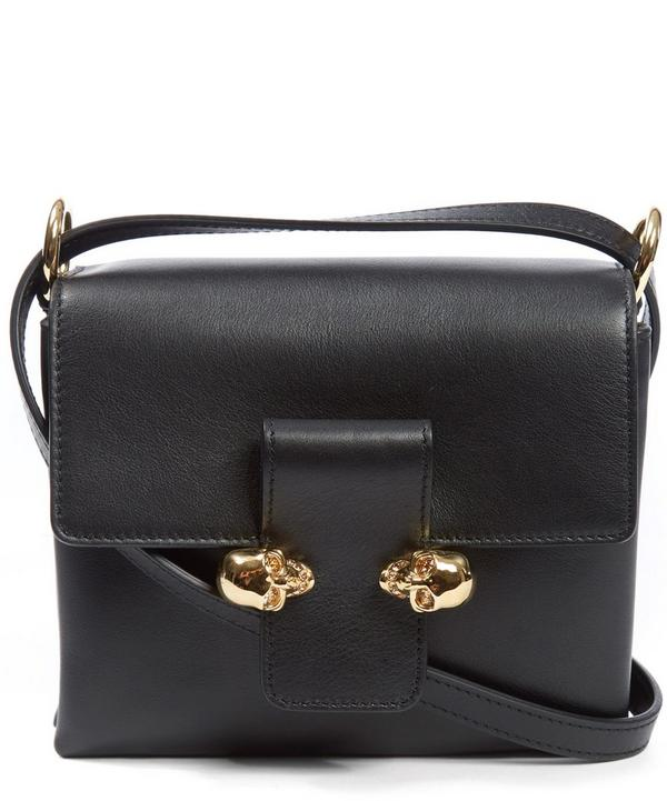 Leather Twin Skull Clasp Crossbody Bag