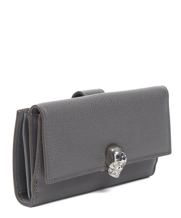 Skull Small Continental Little Stones Calf Wallet