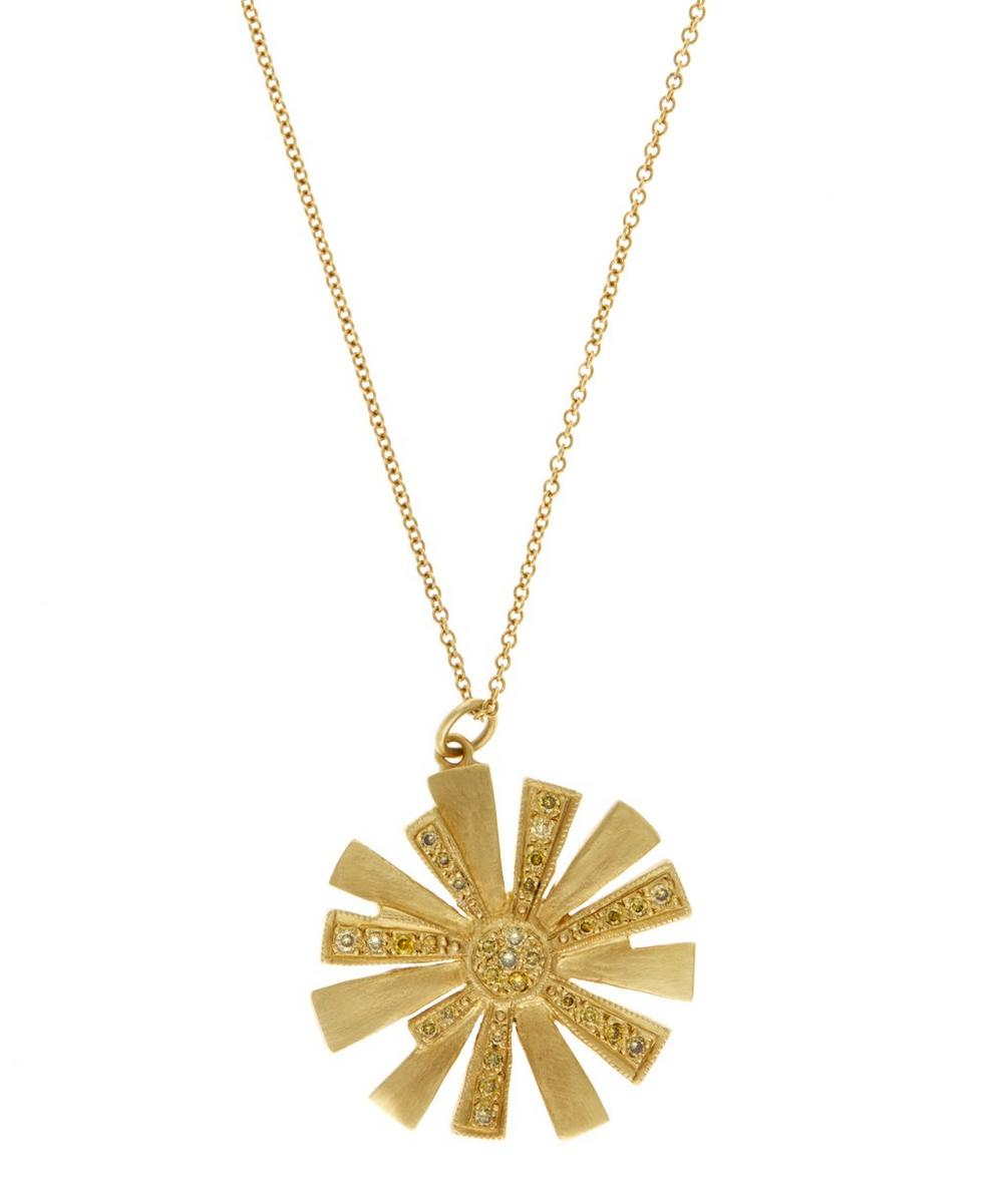 Gold Diamond Starburst Necklace