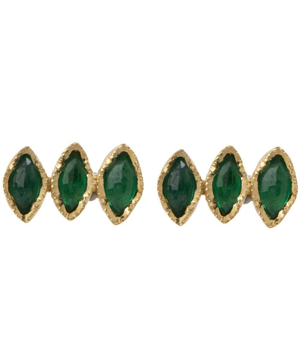 Gold Triple Emerald Marquise Stud Earrings