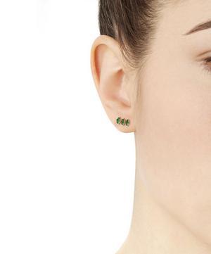 Gold Triple Emerald Marquise Stud Earrings