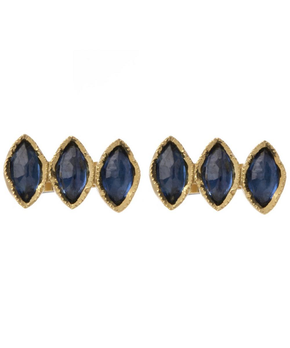 Gold Triple Sapphire Marquise Stud Earrings