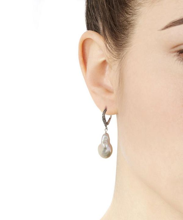 Silver Pink Baroque Pearl Drop Earrings