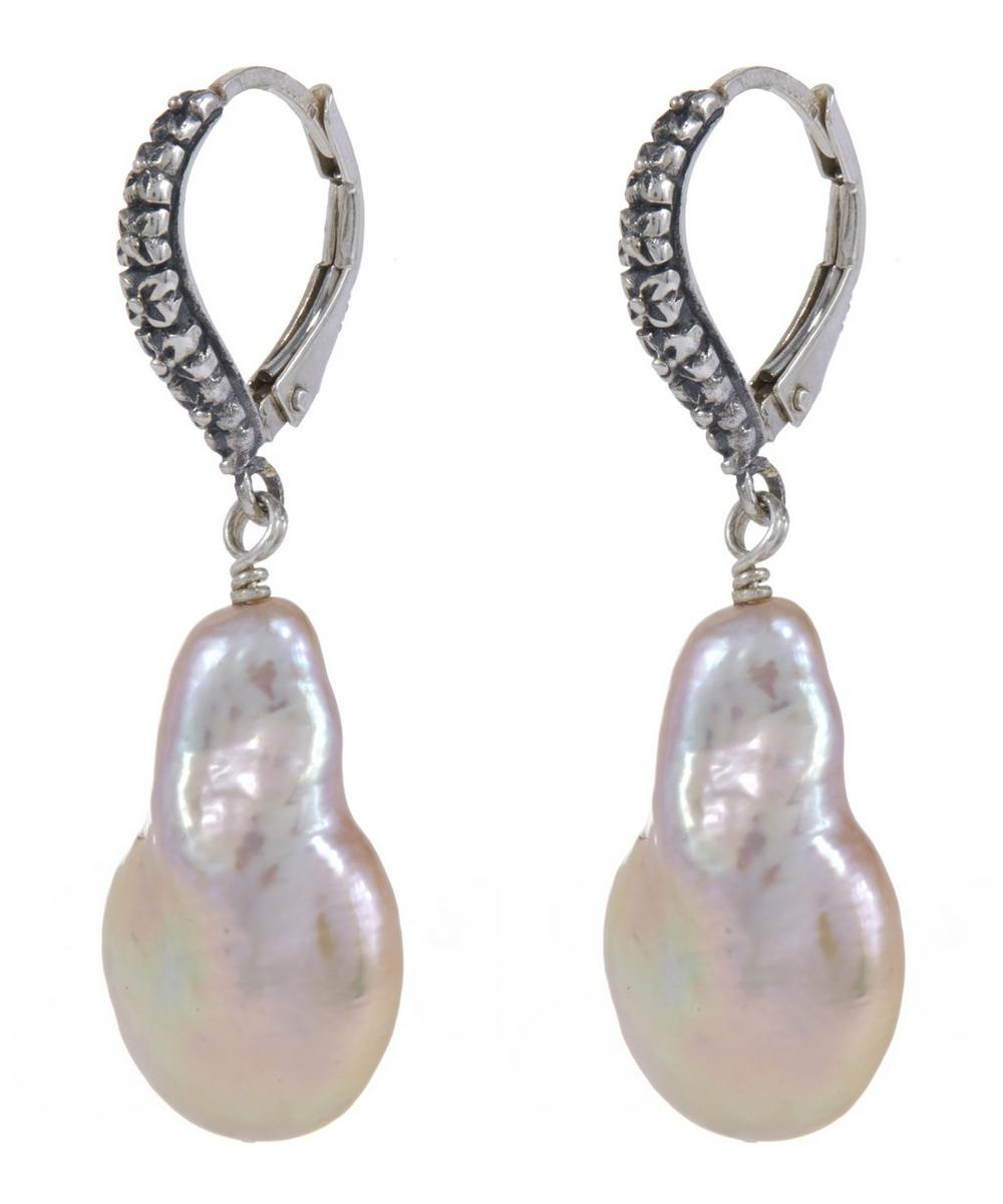 Silver Pink Baroque Pearl Drop Earrings