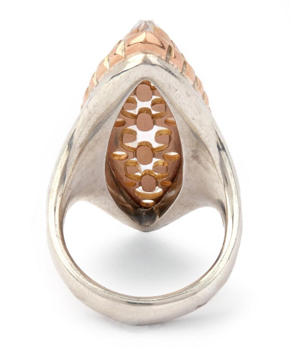 Rose Gold Rimmed Rock Crystal Cocktail Ring