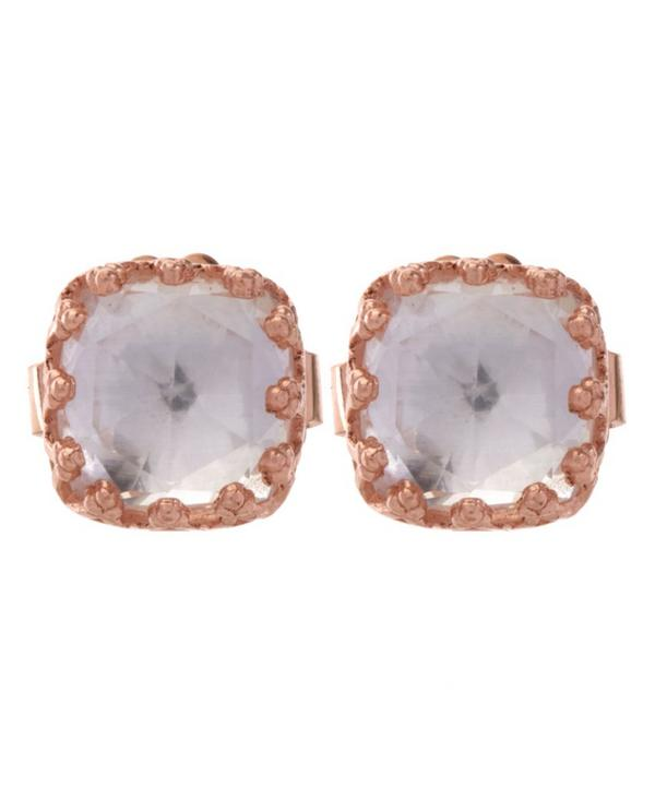 Rose Gold Small Jane White Topaz Post Earrings