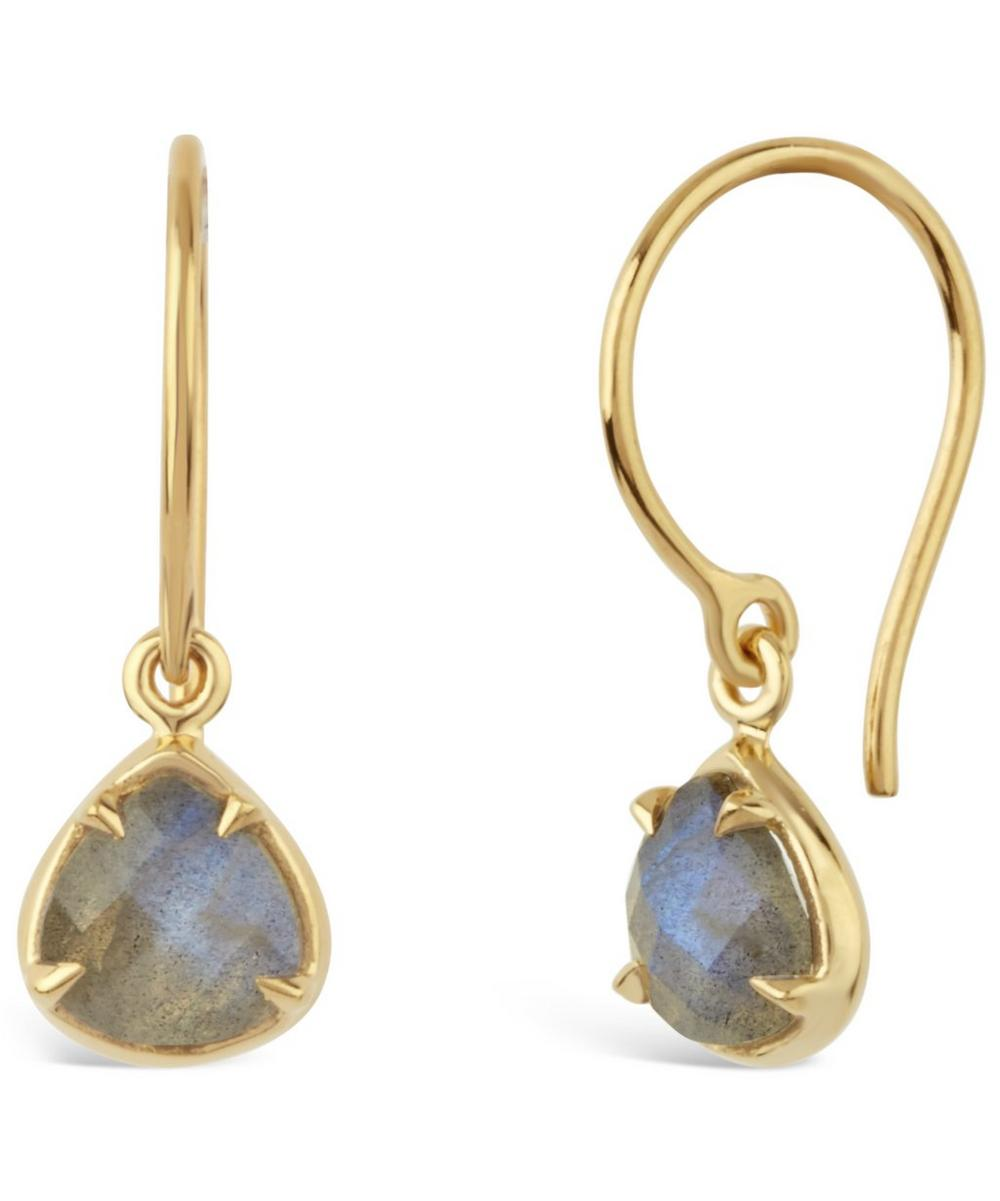 Gold-Plated Labradorite Sheba Trillion Drop Earrings