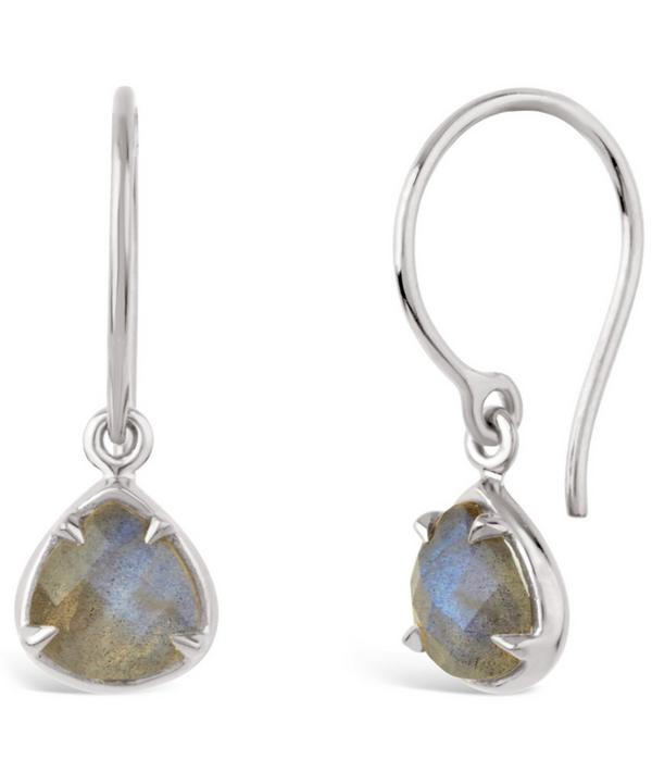 Silver labradorite Sheba Trillion Drop Earrings