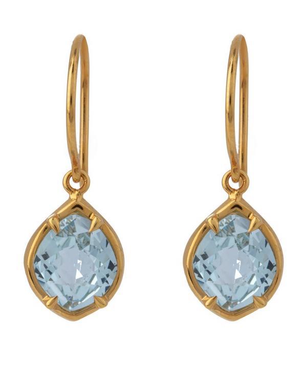 Gold-Plated Blue Topaz Sheba Kite Drop Earrings