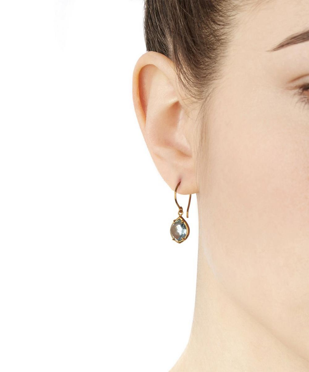 Gold-Plated Blue Topaz Sheba Kite Drop Earrings