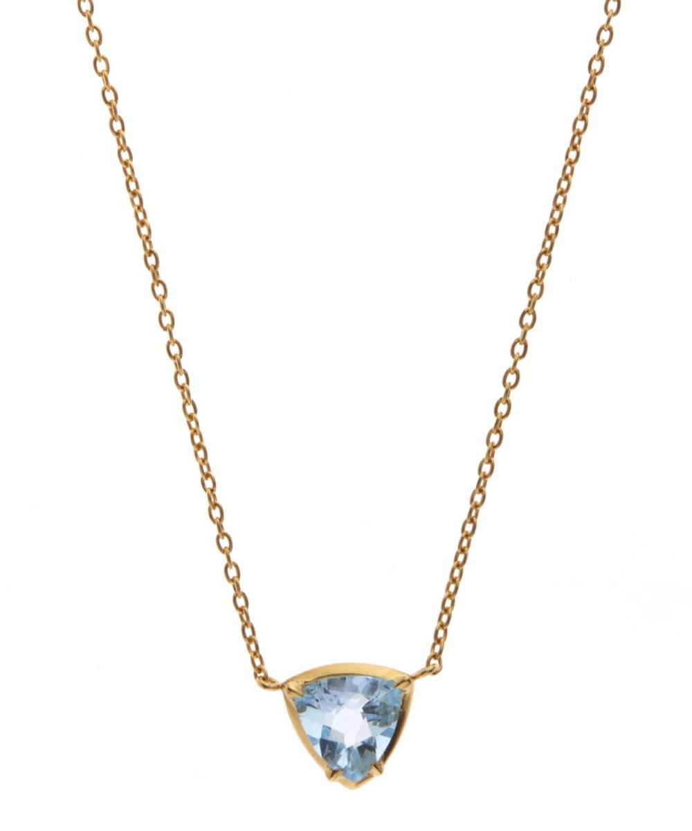Gold-Plated Blue Topaz Sheba Trillion Pendant