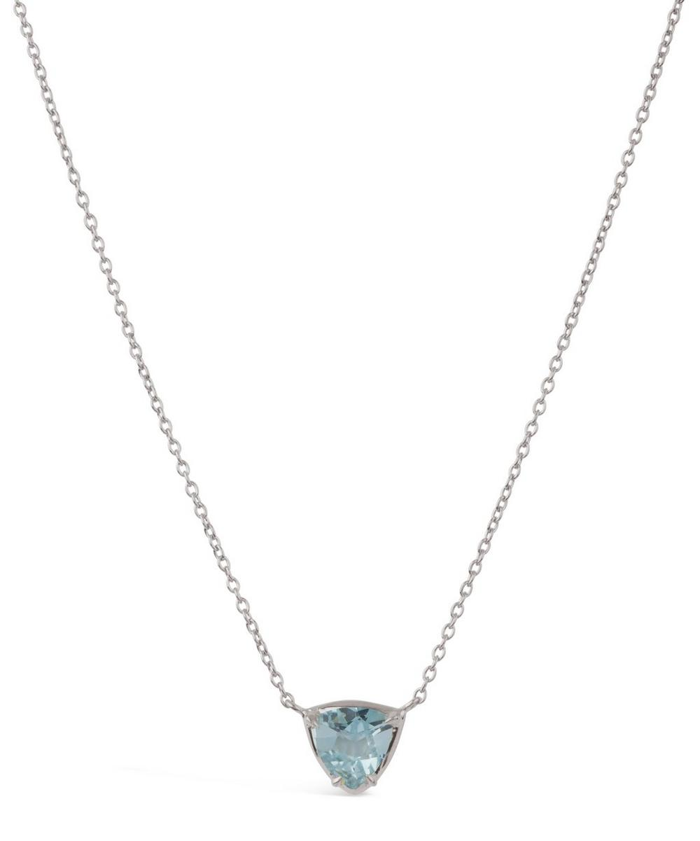 Silver Blue Topaz Sheba Trillion Pendant