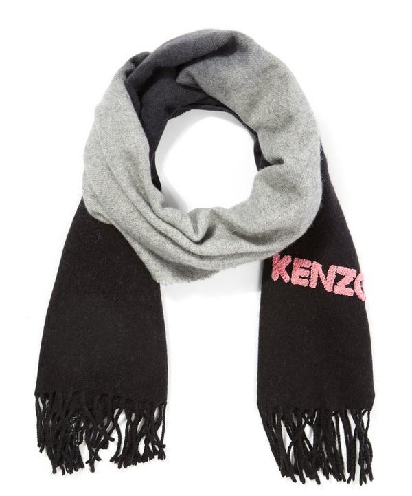 Kenzo Logo Gradient Wool Silk Scarf