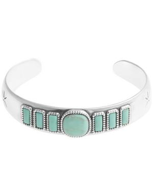 Silver-Plated Turquoise Stone Lozzi Bangle