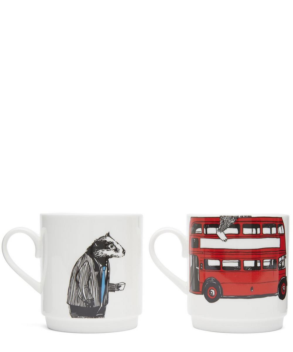 Badger and Bus Two Cup Set