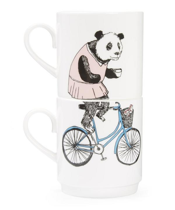 Bear and Bike Two Cup Set