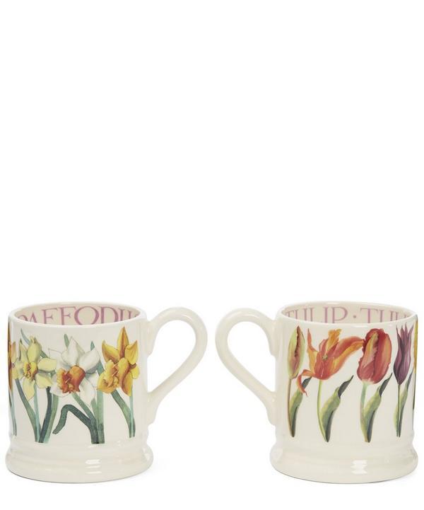 Flowers Set of Two Half Pint Mugs