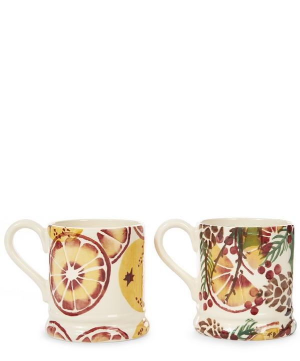 Holly Wreath Set of Two Half Pint Mugs