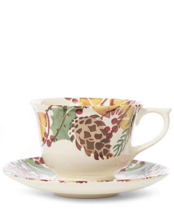 Emma Bridgewater Holly Wreath Large Cup and Saucer
