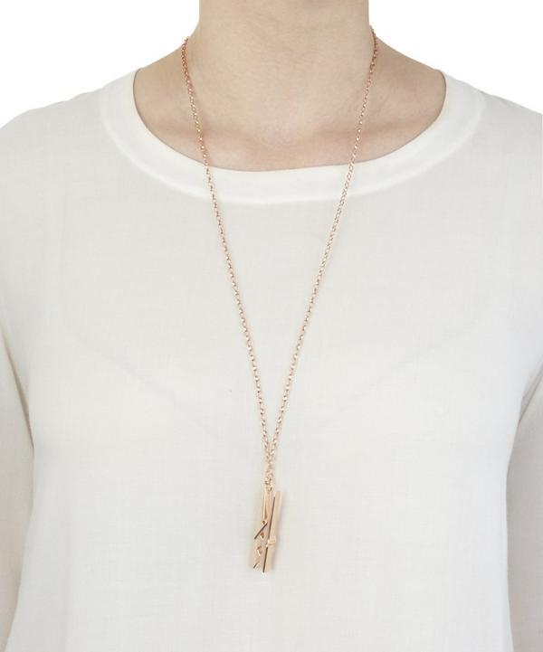 Large Rose Gold Peg Necklace