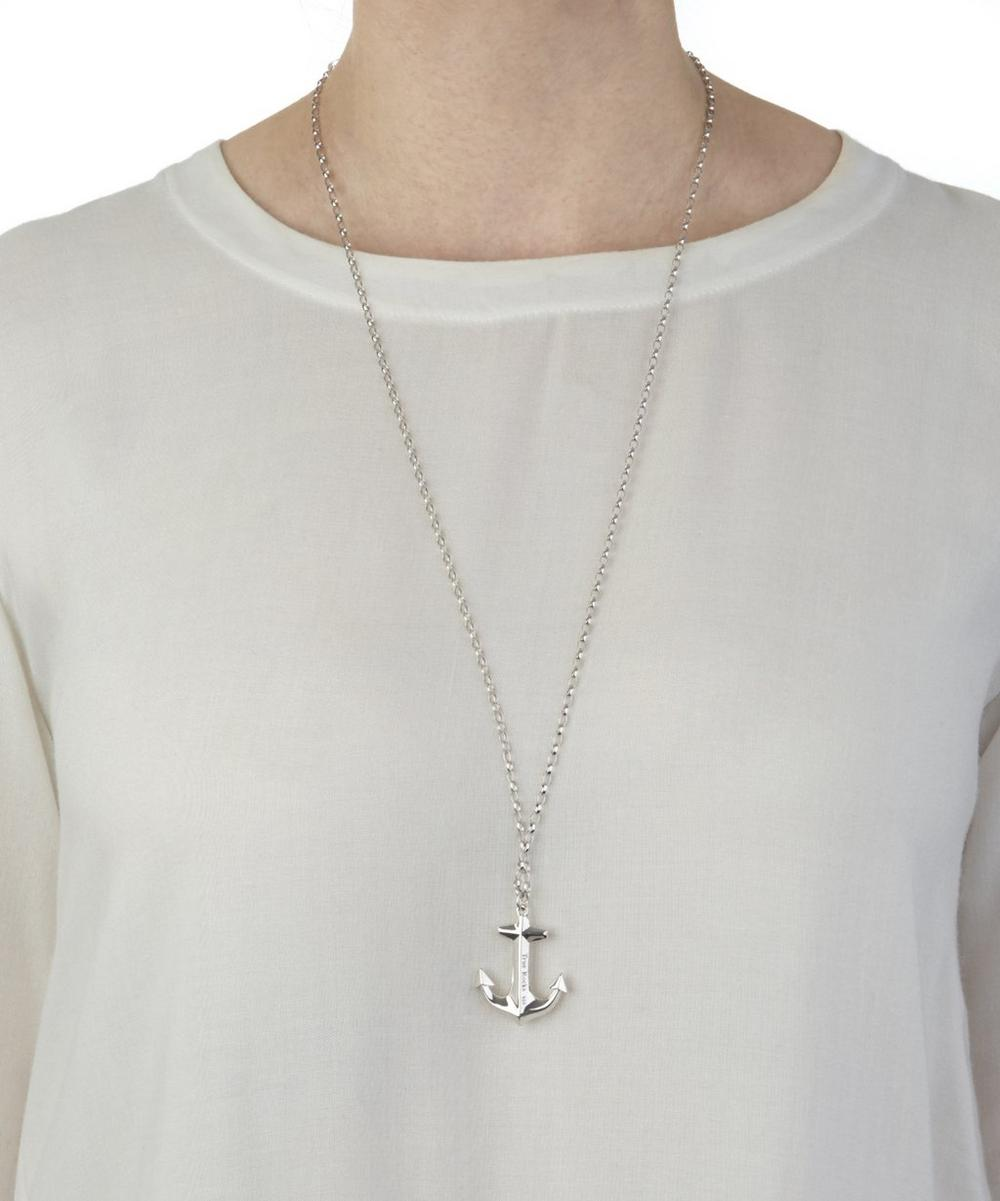 Large Silver Anchor Pendant Necklace