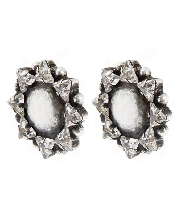 Comet Oxidised Silver Crystal Stud Earrings