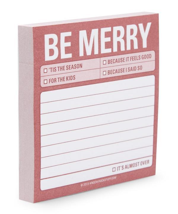 Be Merry Novelty Christmas Sticky Notepad