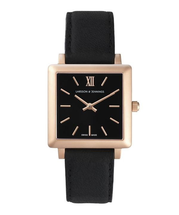 Leather and Rose Gold Norse Square Watch