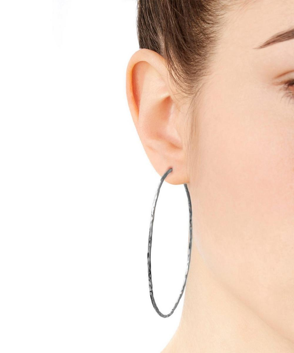 Silver Planished Hammered Hoop Earrings