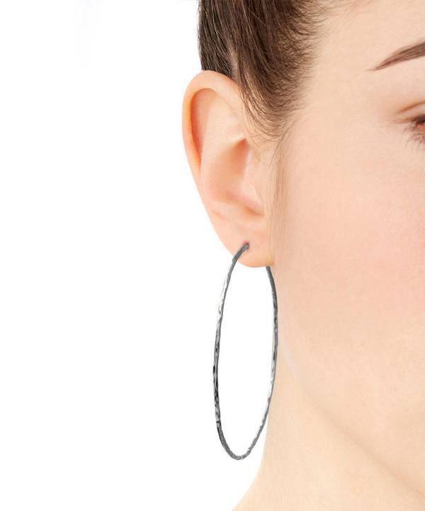 Silver Planished Hammered Hoop Earrings