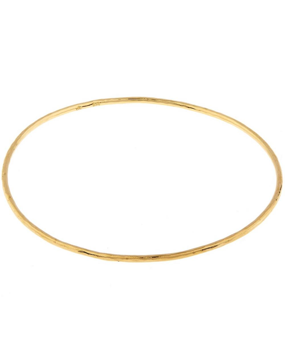 Gold-Plated Planished Hammered Bangle