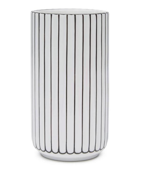 Black Detail Porcelain 15cm Vase