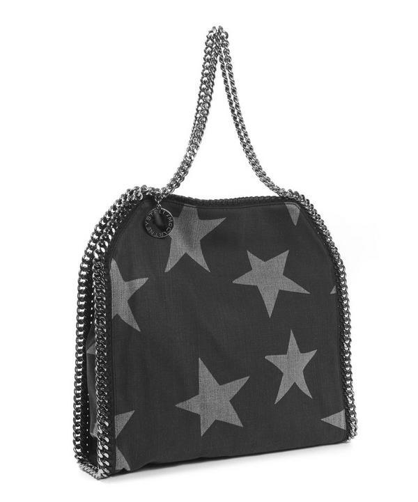 Star Printed Denim Falabella Tote Bag