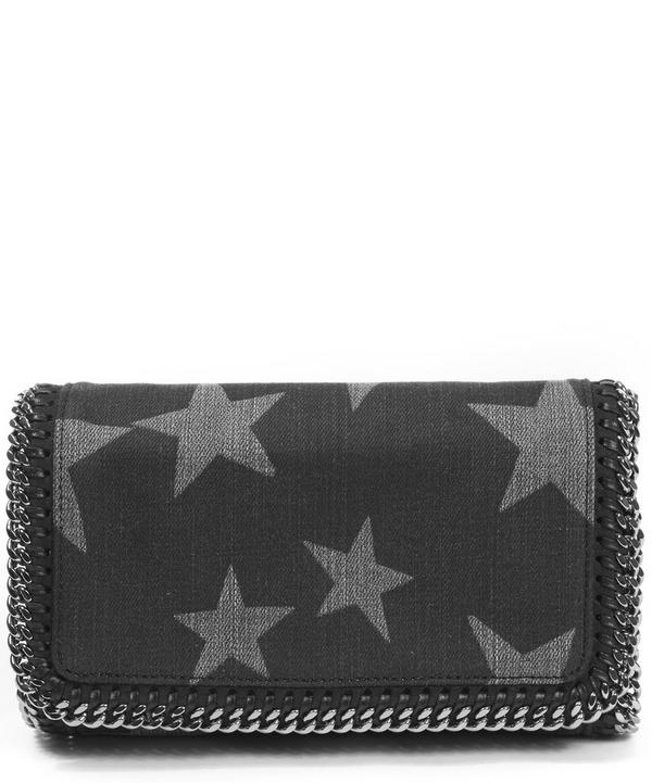 Star Printed Denim Falabella Crossbody Bag
