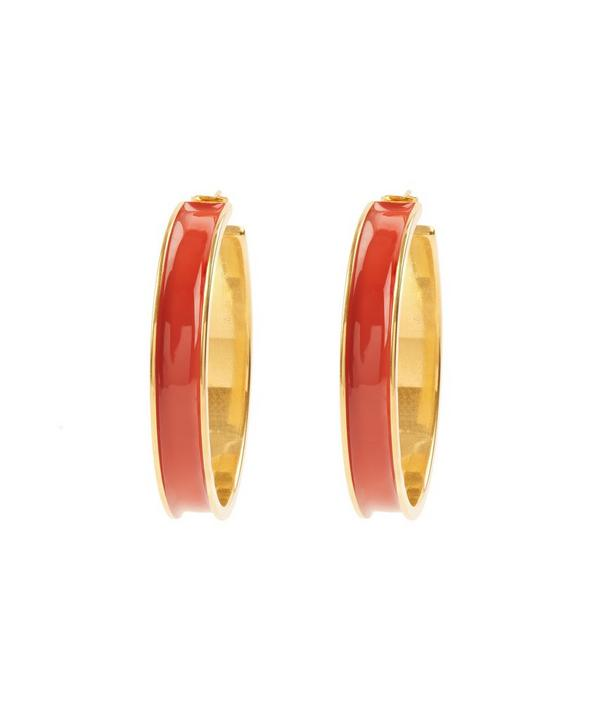 Enamel and Metal Hoop Earrings
