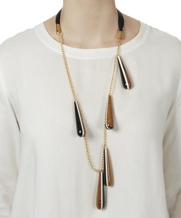 Resin and Wood Detail Chain Necklace