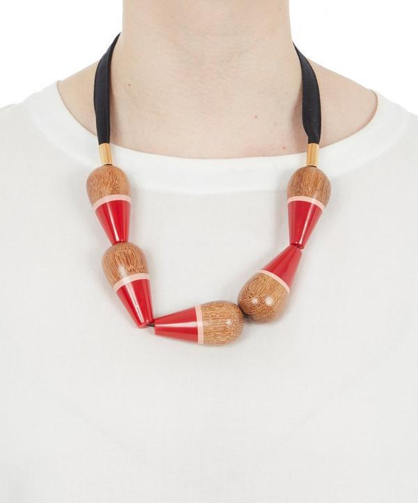 Large Wooden Pendant Detail Necklace