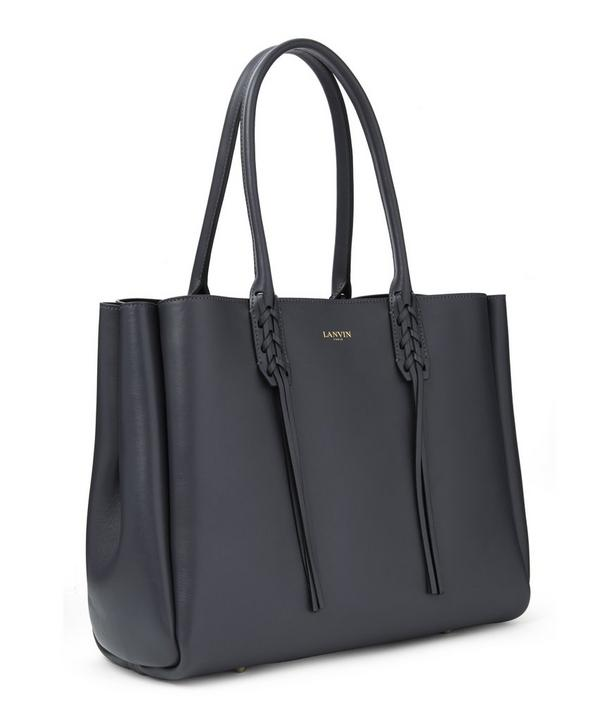 Smooth Calfskin Leather Small Shopper Tote Bag