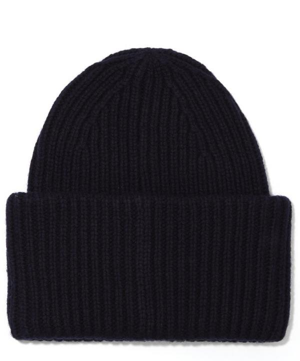 Ribbed Wool Pansy Beanie Hat