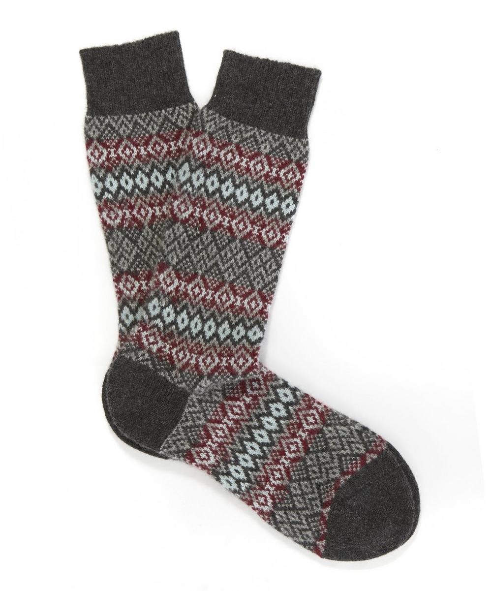 Fenton Cashmere Fairisle Stripe Socks