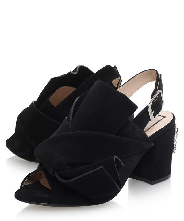 Suede Knot Detail Bow Mules