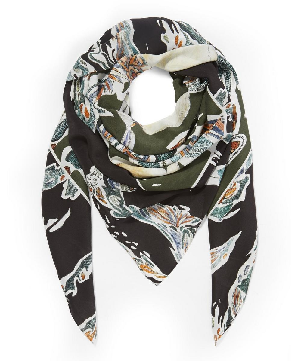 Candy Camo Peacock Printed Silk Scarf
