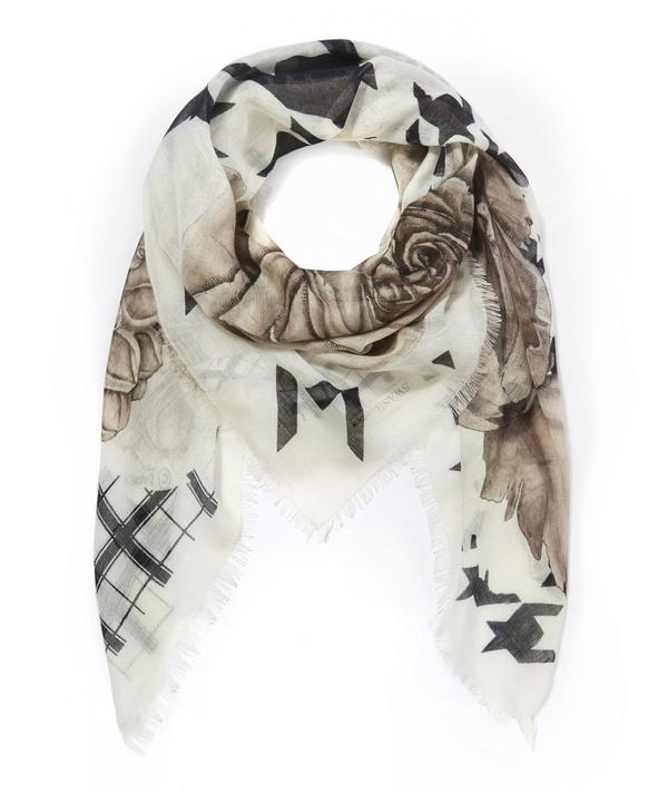 Tenneson Sepia Printed Cashmere-Silk Scarf