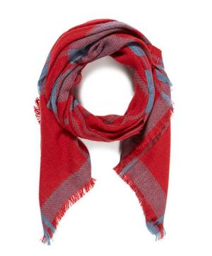 Checked Throw-Style Scarf