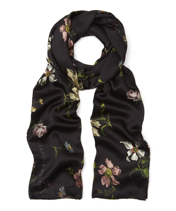 Moonlight Floral Printed Silk Satin Scarf