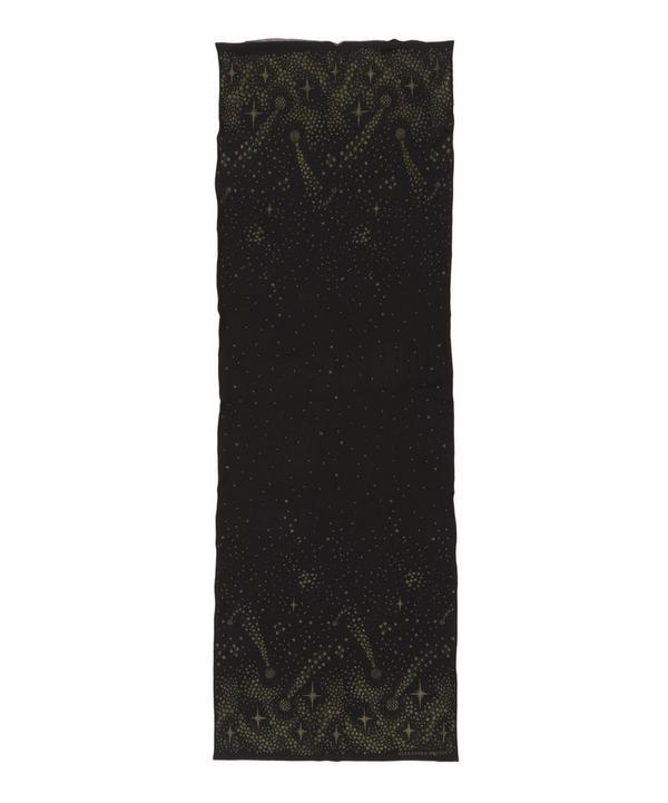 Silk Studded Metallic Moon and Stars Printed Scarf
