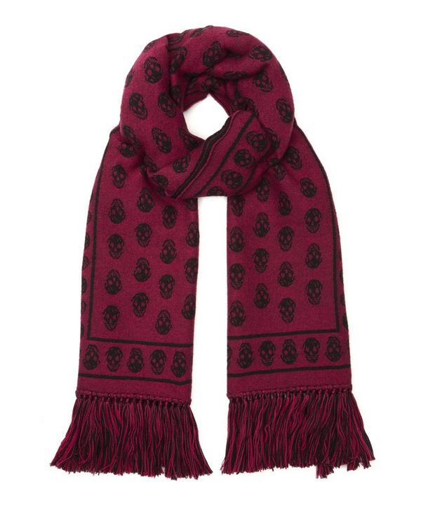 Upside Down Skull Patterned Tassle Scarf